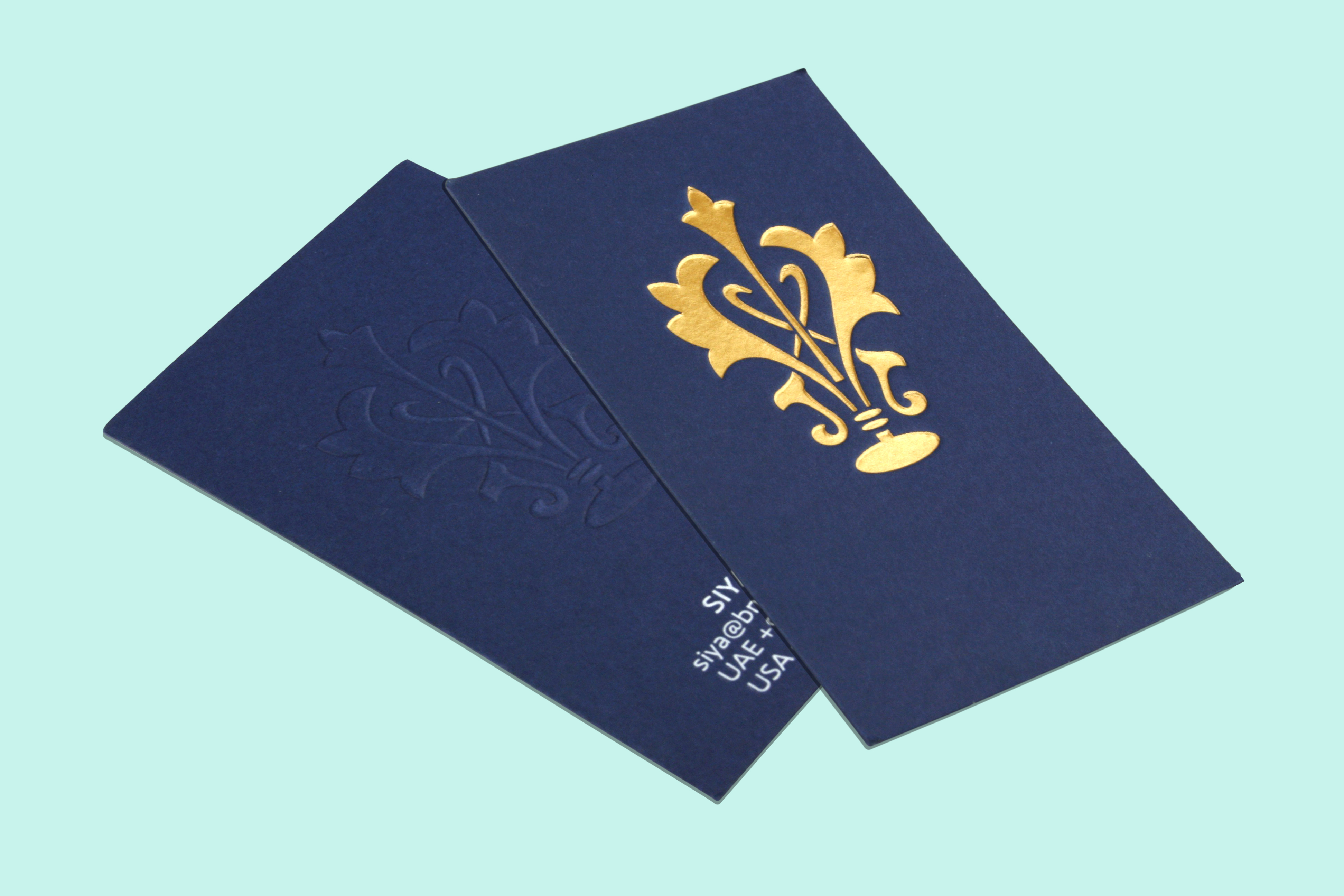 Premium Business Cards With White Printing, Gold Foiling & Embossing