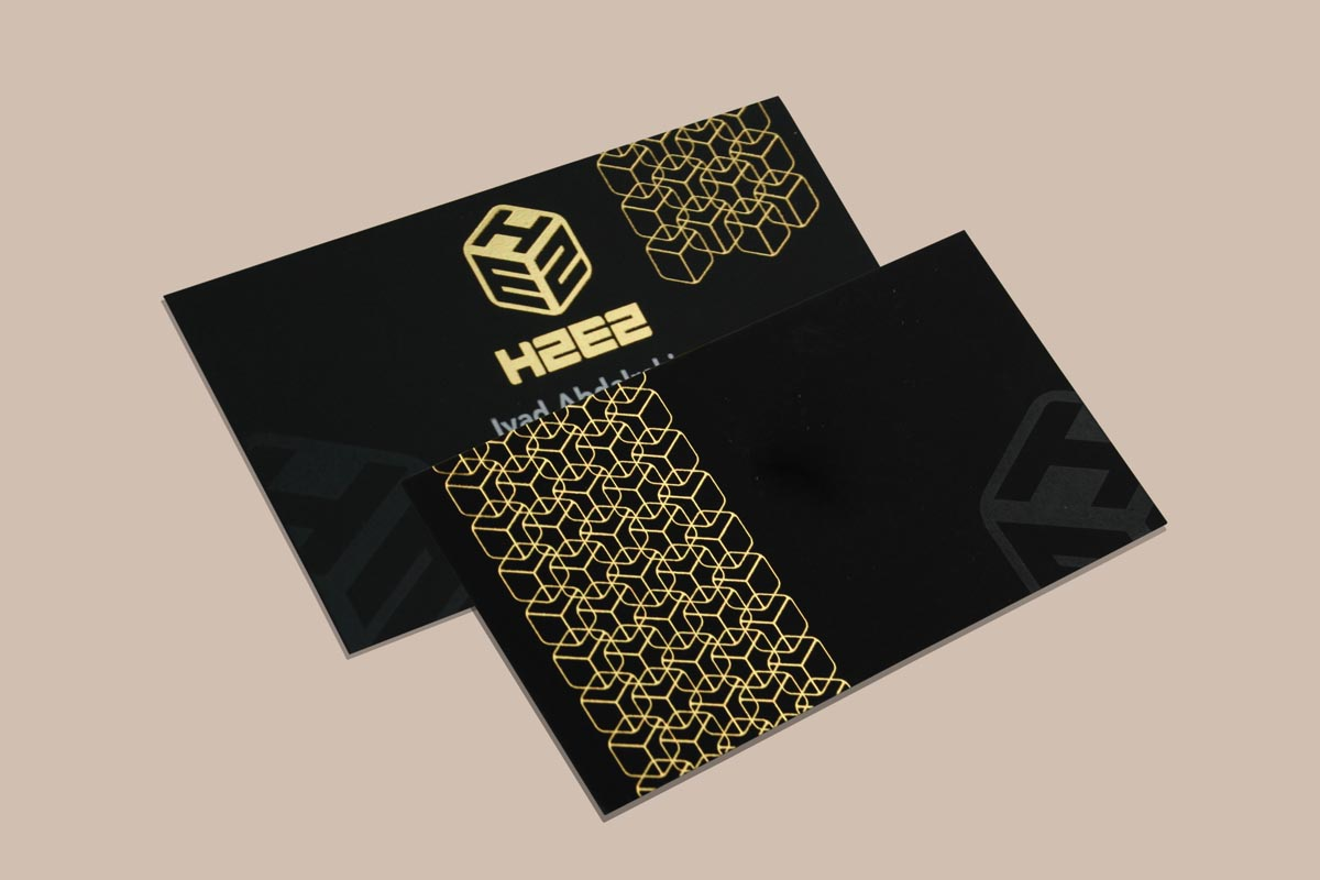 Premium Business Cards With White Printing, Gold Foiling & Spot UV