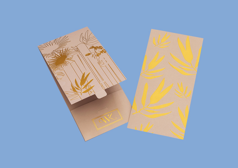 Invitation Card With Gold Foiling and Gold Printing