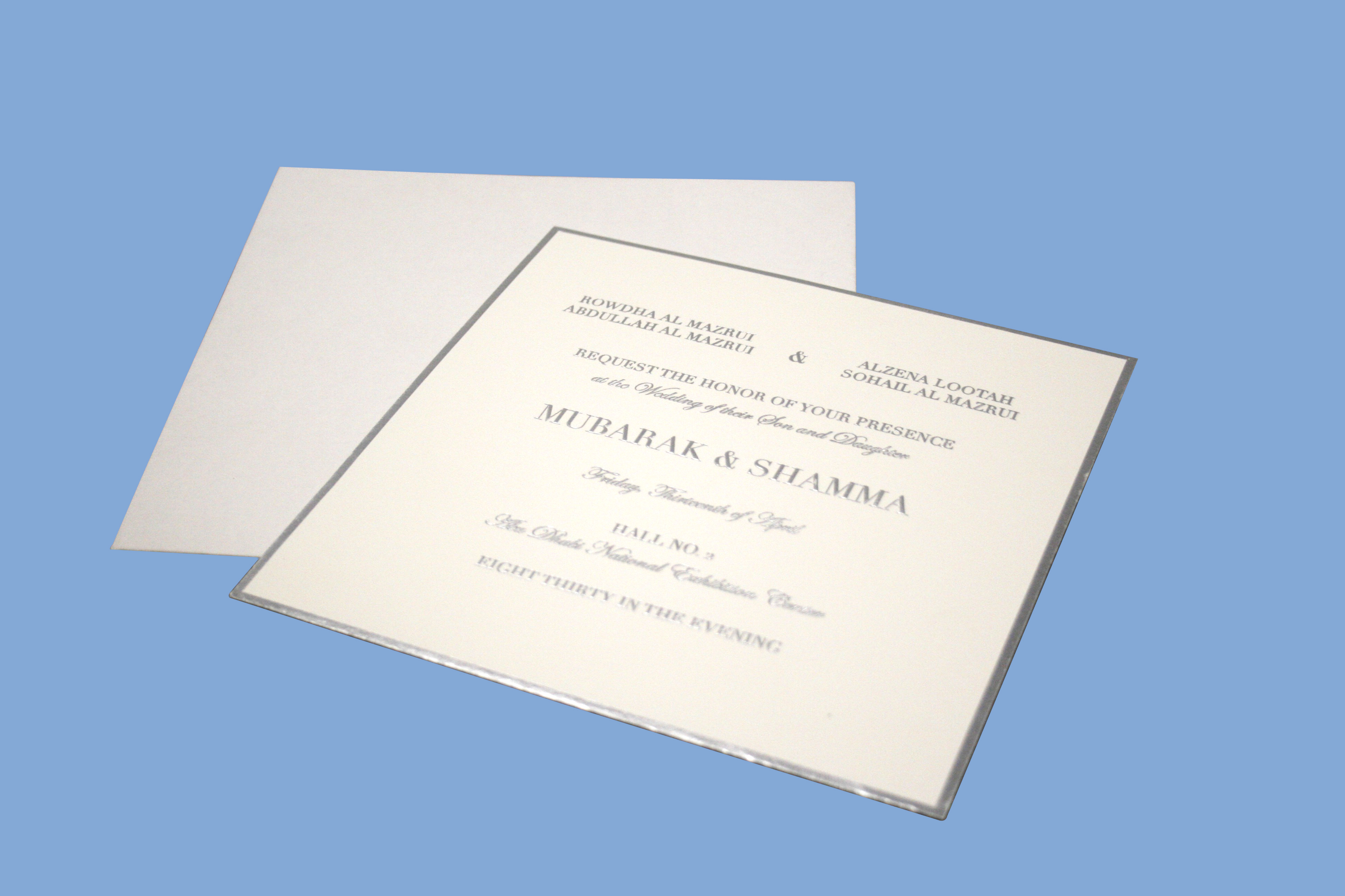 Square Shape Invitation With Silver Foiling